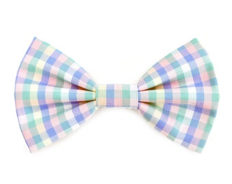 The Crawford Bow Tie — Dog Bowtie, Made in Brooklyn, Bowtied, Plaid, Preppy, Summer, Pastel, Pink