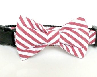 Red Seersucker Wide Stripe Dog Bow Tie ONLY, pet bow tie, collar bow tie, wedding bow tie