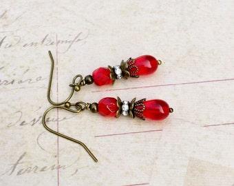 Red Earrings, Ruby Earrings, Ruby Red Earrings, Crystal Earrings, Victorian Earrings, Czech Glass Beads, Bridal Earrings, Dainty Earrings