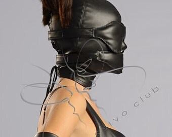 Leather Ponytail Hood + leather blindfold & muffle gag, Submissive ponytail mask + bondage gears, Strict BDSM bondage hood GIMP mask /Mature