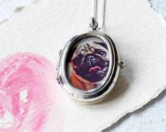 Picture Locket, Glass Locket In Sterling Silver 925, Personalised Locket, Wedding locket, Gift for her, Traditional Locket, Bridesmaid Gift,