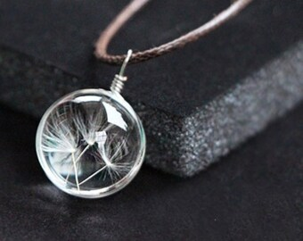 jewel plant pendant - glass ball including an egret of dandelion