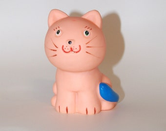 Cute Soviet Toy, Big Rubber Pink Cat, Old Bath Toy, Vintage Toddler Toy Large Retro Rubber Cat Vintage Soviet Toys Russian toy Squeaky Toy