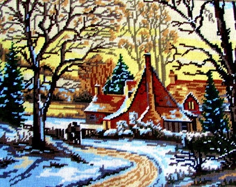"""40%OFF//FINISHED NEEDLEPOINT*//""""Le Hameau"""" by Margot de Paris. a Nature Scene of a Cabin in the Woods/Evergreen/ Fall Trees./Was(32500) Now!"""