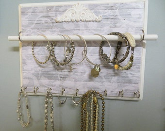 Jewelry Wall Organizer, Bracelet/Necklace/Ring Wall Mounted Organizer, Wood Jewelry Display