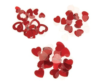 Valentine's Day Red Heart Confetti Assortment Metallic Party Favor Romantic Date Table Scatter Home Decor School Project Multi Shapes Sizes