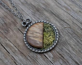 Petrified Wood with Moss Woodland Pendant