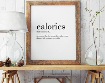 Calories Definition Print | Wall Art Print | Wall Decor | Minimal Print | Definition Print | Modern Print | Type Poster | INSTANT DOWNLOAD