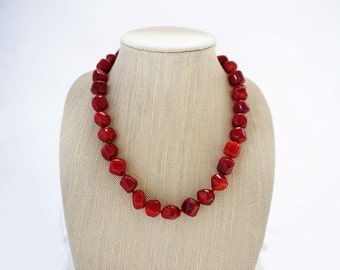 Red Coral Statement Necklace