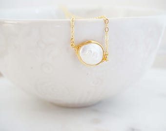 Mother of Pearl and Gold Necklace