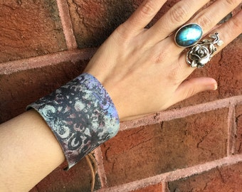Rustic Bohemian Purple and Blue Painted Leather Cuff Tie Bracelet