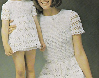 Vintage crochet dress pattern mother daughter dress pdf INSTANT download pattern only pdf 1970s womens girls