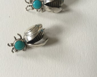 A Pair of Turquoise Navajo Bee Brooches