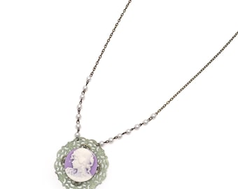 cameo & rosary chain necklace, vintage cameo necklace, cameo and pearls, upcycled cameo necklace, purple and green necklace, cameo jewelry
