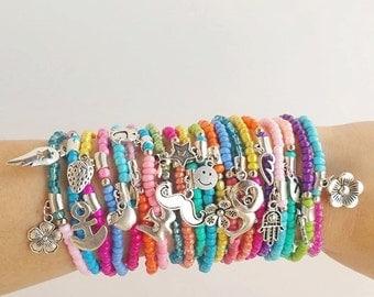 twenty Beaded Bracelet, Boho Bracelet, Boho Jewelry, Gift for Her, Colorful Bracelet, Multicolor Boho, Stretch Bracelet, Womens Bracelet