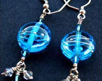 Artisan Lampwork and Sterling Silver earrings, Swarovski crystals, Capri Blue, silver and glass earrings, handmade in the UK