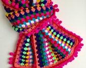 Crochet shawl in bright colors with pompom edging - 100% high quality acrylic yarn - Handmade granny stripes crochet scarf for women