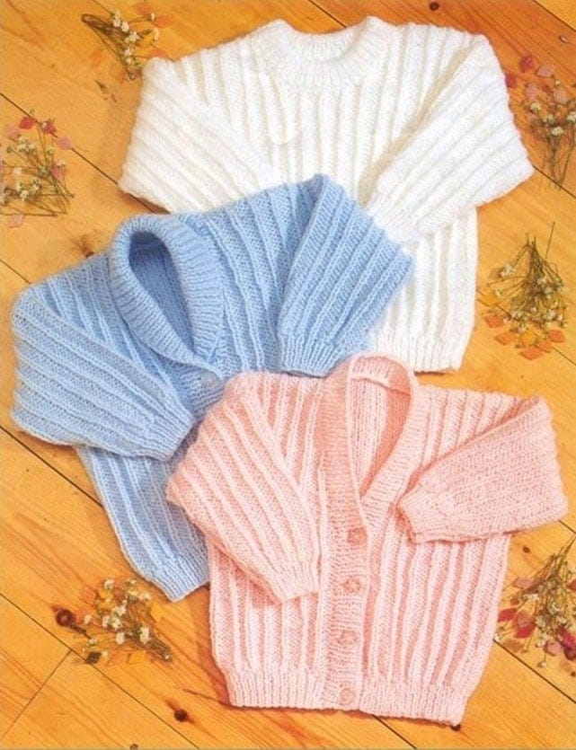 6b83d7557 Premature Baby or Doll Knitting Pattern Double Knit Ribbed Cardigans ...