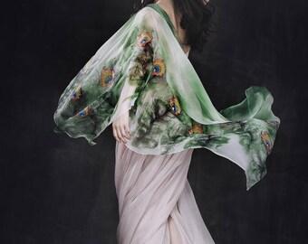 "Handpainted Silk Scarf ""Feathers"" 190cm*90cm"