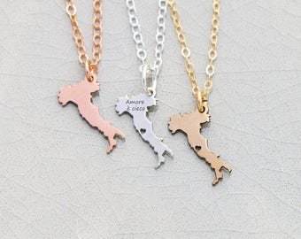 Italy Necklace • Italy Jewelry • Silver Italy Charm • Europe Trip • Italian Jewelry Italy Gift Necklace Sterling Silver CharmTiny