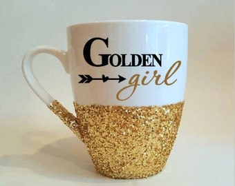 "Golden girl hand glittered coffee mug - ""thank you for being a friend"" on the backside - made to order"