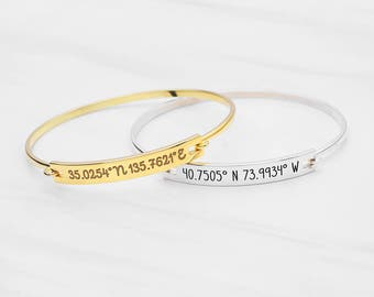 Coordinates Bracelet - Latitude Longitude Jewelry - GPS Coordinates Bangle - Longitude and Latitude Bracelet  - Mother's Gift CCB03