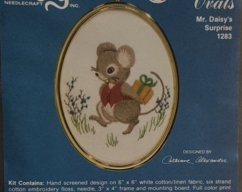 """Vintage Needlecraft kit """"Mr. Daisy's Surprise"""" Designed by Catherine Alexander for Cathy Needlcraft-Golden Ovals-With Oval Frame -Glass"""