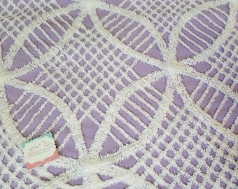 """Vintage Chenille Fabric/18""""x 24""""/ Plush Purple- white  Star & Checks / Bedspread fabric for Quilting projects/ 195o's-cottage chic fabric"""