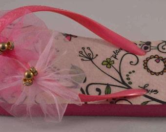 Pink Organza flower flip flops