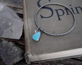 Turquoise Charm Bracelet Silver Bangle Bracelet Turquoise Bracelet Metalwork Jewelry