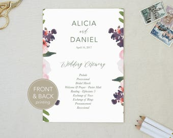 Custom Program. Ceremony Order. Calligraphy Program. Order of Ceremony. Modern Program. Floral Program. Wedding Stationery. Simple Program.