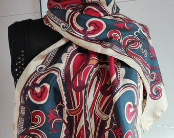 Vintage silk long scarf / Abstract floral print /  Purple  blue / oblong scarf / hand rolled hem