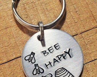 Bee Keychain - Beekeeper Gift - Bee Gift - Bumble Bee Keychain - Bumble Bee Key Ring - Honey Bee Keychain - Honey Bee Gift - Bee Keyring