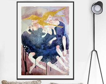 Modern Art Painting, Watercolor Art, Original Art Painting, Custom Painting, Handmade Paintings, Gold Painting, Wall Home Decor, Unusual Art