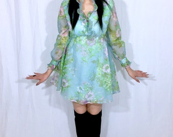Vintage 60's Mod Pale Blue Floral Union Made Ruffle Collar Victorian Style Poet Sleeves Polyester Chiffon Babydoll Mini Dress S // SM