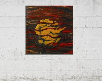 Original hand painted acrylic painting / gold rose small / red black background / Art Gallery Aparticle