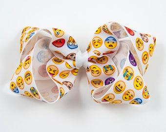 Emoji Hair Bow, Emoticon Hair Bow, Girl Emoji Hair Bow, Diva Hair Bow, Smilie Face Hair Bow, Emoji Bow, Emoji Hair Clip (Item #10220)