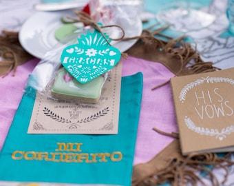 Mexican Wedding Tags, Papel Picado, Fiesta, Hang Tags, Party favor, Corazon, Gracias Tag, Personalized, Paper Cut, Set of 12