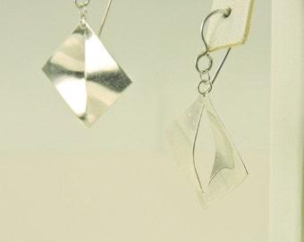 Sterling Silver Square Slit Dangle Earrings