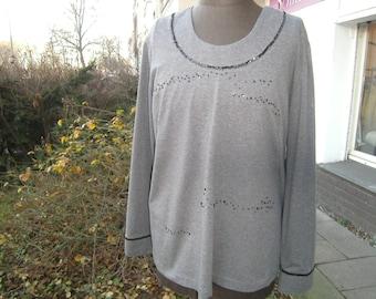 anthrazit Jersey Shirt - Womensshirt - Plus Size Clothing -  elegant Shirt - handmade Shirt - Shirt XL - Paillettenshirt