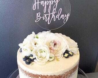 Happy Birthday cake topper. Acrylic or wood cake topper. Birthday cake topper.