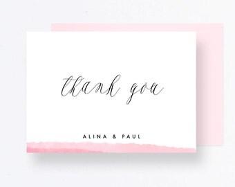 Thank you Pink Wedding Card, Watercolor Wedding Printable, Wedding Stationery, Pdf Wedding Cards, Wedding Watercolor Pdf, Thank you Wedding