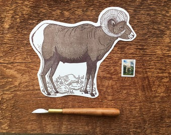 Bighorn Sheep Postcard, Bighorn Postcard, Rocky Mountain, Die Cut Letterpress Postcard