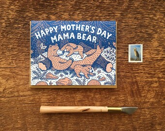 Mama Bear, Happy Mother's Day, Folded Letterpress Card, Blank Inside