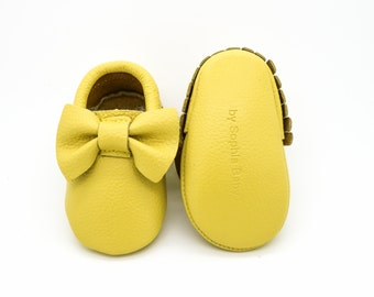 Baby Moccasins, Baby Yellow Bow Moccasins, Baby Leather Shoes, Genuine Leather Moccs, Toddler Moccasins, Baby Moccs, Baby Shower Gift