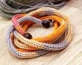 Crochet Bracelet/ Crochet Rainbow Bracelet/ Eco Jewelry/ Cuff Bracelet/ Boho Style Bracelet/ Wrapped bracelet/ Friendly gift/ Long bracelet