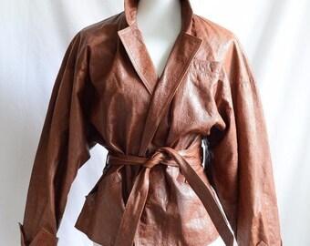 Vintage Women's 80s 90s Retro Hipster Avanti Brown Leather Bomber Jacket Dolman sleeves