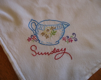 SUNDAY DISH TOWEL Hand Embroidered Pitcher Creamer Flowers Floral Floursack Material Large