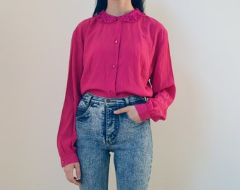 FUCHSIA BLOUSE -women, long sleeve, shirt, romantic, boho chic, aesthetic, 80s, 70s, lace, floral, pink, indie, hipster, hippie, cute-