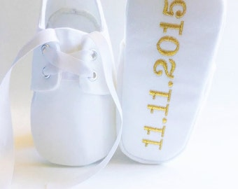 White Baby Baptism, Christening, Oxford Shoes with FREE Custom Personalized Metallic Gold Embroidery, sneakers, Blessing, Presentation White